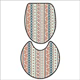 qianhehome Non-Slip Bathroom Toilet Mat Mexican Style Aztec Pattern Retro Hand Drawn Style Abstract for ES Cream Blue Navy and Scarlet. 2 Pieces Microfiber Soft 17''x21''-D28