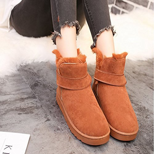 Winter Tan Toe Snow Boots Belt Boots Low Heel Velvet Suede Womens Ankle Snow GIY Round Buckle Flat Lined CwnqTx5zB
