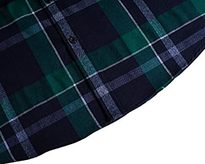 Trensom Men's Casual Cotton Collared Checked Short Sleeve Plaid Button Down Dress Shirt