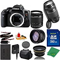 Great Value Bundle for T6I DSLR – 18-55mm STM + 75-300mm III + 32GB Memory + Wide Angle + Telephoto Lens + Case