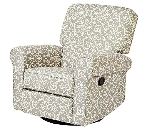 Premium Menet Swivel Glide Recliner with Fabric Upholstery in a Scrollwork Print, Gray and White