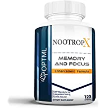NootropX Advanced Nootropic Brain Supplement | Clinically Effective Doses | Memory and Focus Enhancement Formula | Alpha GPC | Ginkgo | Ginseng | DMAE | Theanine | Huperzine A | ALCAR (120 Caps)