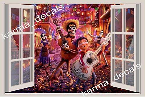 Miguel Stickers - Coco Disney Miguel Héctor 3D Window View Decal Graphic WALL STICKER Art Mural 18