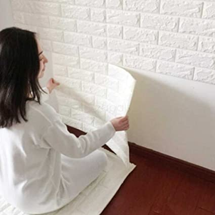 3D White Brick Tile Wallpaper, Waterproof Soundproof Self-adhesive Wall  Sticker, Peel and Stick PE Foam Wall Paper Decor for Bedroom Living Room ...