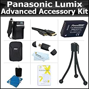Advanced Accessory Kit For Panasonic Lumix DMC-ZS7 DMC-ZS10, DMC-ZS8, DMC-ZS20 DMC-ZS15 DMC-ZS25, DMC-ZS25K Digital Camera Includes Case + Extended Replacement DMW-BCG10 Battery + AC/DC Charger + More