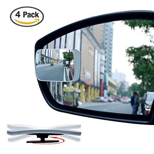 4 Pack Slim Square 360° Rotate + 20° Sway Adjustabe Blind Spot Mirror, Ampper HD Glass Convex Wide Angle Rear View Car SUV Universal Fit Stick On Lens