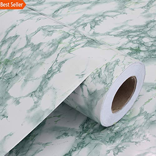 - Bathroom Removable Self Adhesive Marble Wallpaper for Kitchen Countertops Peel and Stick Cabinet Shelf Liner Vinyl Contact Paper Marble (Light Green, 3m x 40cm)