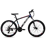 Hiland 26 Inch Mountain Bike Aluminum MTB Bicycle with 16.5 Inch Frame Kickstand 24 Speeds Disc Brake Suspension Fork CST Urban Commuter City Bicycle Black