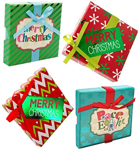 Christmas Gift Card Holder Boxes with Ribbon & Foil (Set of 4)