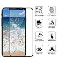 iPhone X Screen Protector, Vigeer [ Full Coverage ] [0.3mm, 3D] [Bubble-Free] [9H Hardness] [Easy Installation] [HD Clear] Tempered Glass Screen Protector for iPhone X / iPhone 10 (Black) by Vigeer