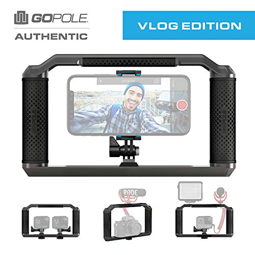 Triad Grip - Handheld Pro Vlogging Rig Tray for Smartphone, GoPro Hero 7/6/5/4/3, Osmo Action, GoPro Fusion, Mirrorless, DSLR, iPhone Xs Max XR X 8 7 Plus (Best Budget Gopro Stabilizer)
