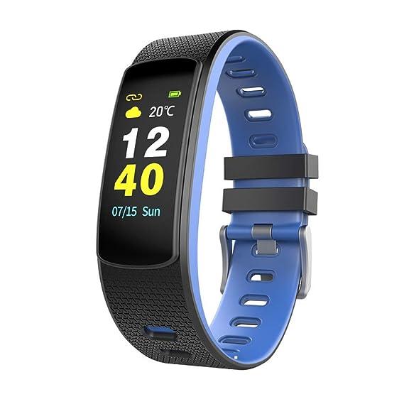 Pulsera Inteligente Deporte Impermeable Rastreador De Frecuencia Cardíaca Detector De Ritmo Cardíaco Pantalla A Color Podómetro Reloj Inteligente Azul: ...