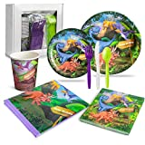 LHM Dinosaur Birthday Party Supplies for Boys and Girls (16 Guests Set) - Dinner and Dessert Plates, Paper Cups, Plastic Cutlery, Napkins and Plastic Tablecloth for a Dinosaur-Themed Birthday Event