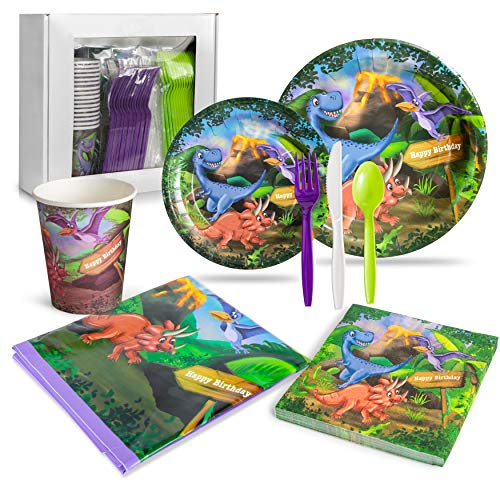 LHM Dinosaur Birthday Party Supplies for Boys and Girls (16 Guests Set) - Dinner and Dessert Plates, Paper Cups, Plastic Cutlery, Napkins and Plastic Tablecloth for a Dinosaur-Themed Birthday Event]()