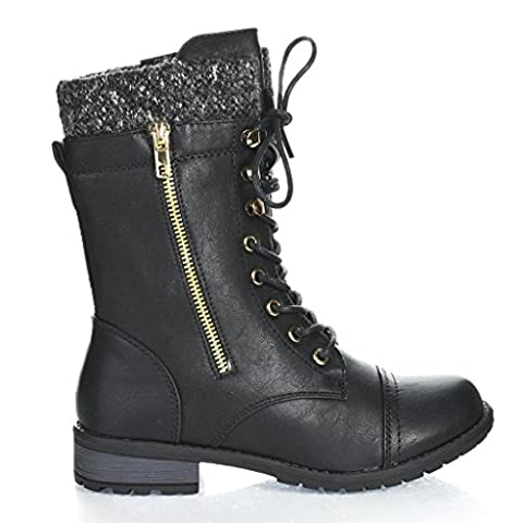 Forever Link Womens Mango-31 Round Toe Military Lace Up Knit Ankle Cuff Low Heel Combat - Footwear Combat Boots