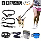 Ocathnon Hands Free Dog Leash Bungee Buffer 2 Padded Handles with Waistband, Dog Collar, Dog Seatbelt, Collapsible Dog bowl, Training Treats Pouch with Bag Dispenser for Running, Walking, Hiking