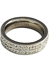Stainless Steel Fashion Ring Shining Cubic Zirconia Band
