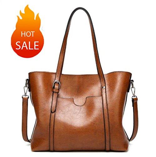 Women Shoulder Bags Zipper Handbags for women Top Handle Bag Tote Bags by YUNS (Brown) by YUNS