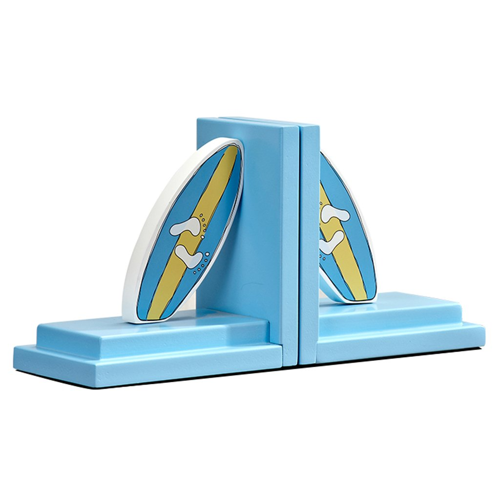 Bookends bookshelf wooden surfboard bookends children's room office bookcase bookends (Color : Blue)