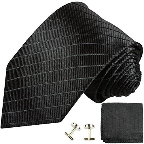 Cravate homme noire uni rayée ensemble de cravate 3 Pièces ( longueur 165cm )