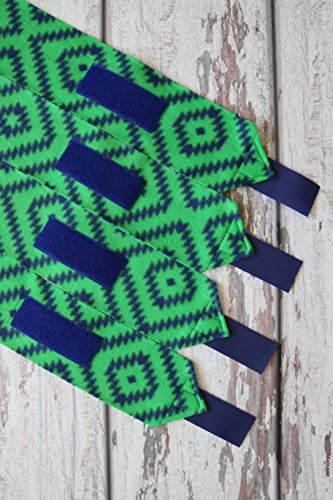 Mountain Horse Diamond Fleece - Polo Wraps / Stable Wraps, Set of 4 Aztec Diamond Green and Blue