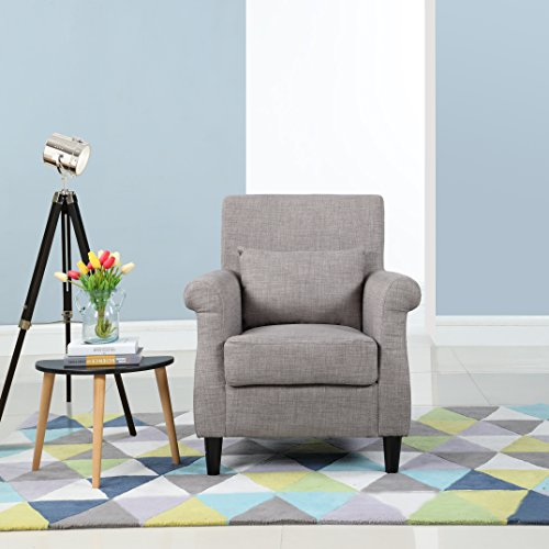 Divano Roma Furniture Classic Scroll Arm Linen Fabric Living Room Armchair (Light Grey)