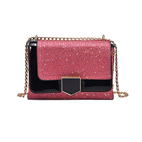 Bolso Shoulder Black Pequeñas Hit Color Pink Lady Woman incense Solo Lock Bag De Hombro Lentejuelas pwERFSxq