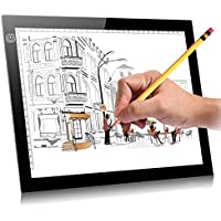 A4S 9x12 Ultra-thin Portable LED Light Box Tracer USB Power Cable Dimmable Brightness LED Artcraft Tracing Light Pad for Artists Drawing Sketching Animation Designing Stencilling X-ray Viewing