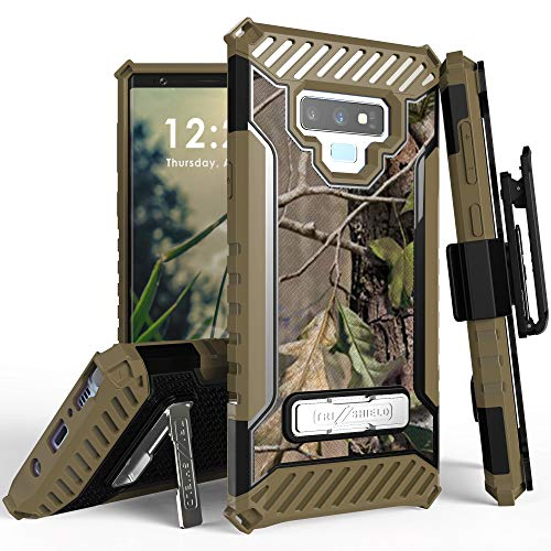 Trishield Series for Note9 Case, Military Grade Rugged Cover + [Metal Kickstand]+[Belt Clip Holster] for Samsung Galaxy Note 9 (2018) - Hunter Tree Outdoors Camo