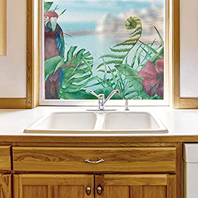Made With Love, Alluring Style, Window Film for Privacy Story Plants Large Decorative Glass Sticker for Office Home Meeting Room Bathroom Self Adhesive Anti UV Removable Flims