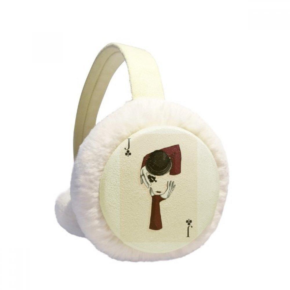 Spade J Playing Cards Pattern Winter Earmuffs Ear Warmers Faux Fur Foldable Plush Outdoor Gift