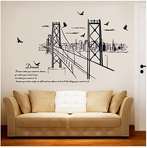 sansiwu Q San Francisco Bridge Silhouette Wall Sticker Study Office Bedroom Living Room Background Decoration Can Be Removed