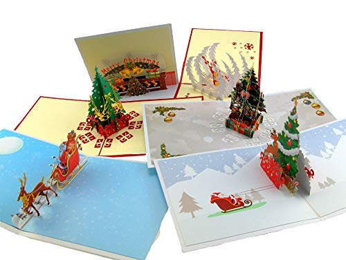 Pop Up Christmas Cards 3D (Pack of 5),Handmade Boxed Set of Assorted with Envelopes and Santa Claus Stickers for -