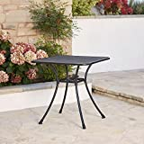 Commercial Iron 28'' Square Steel Mesh Top Outdoor Bistro Cafe Patio Table