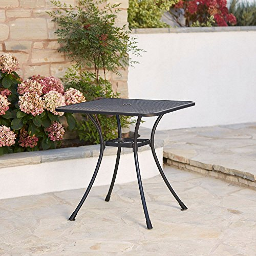 Commercial Iron 28'' Square Steel Mesh Top Outdoor Bistro Cafe Patio Table by SunVilla