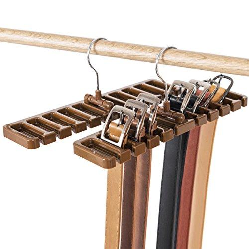 DayCount Pack of 2 Tie Belt Organizer Storage Rack, Multifuction Rotating Ties Scarf Hanger Holder Closet Organization Wardrobe Finishing Rack for Men and Women (Brown) ()