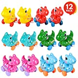 ArtCreativity Wind-Up Dinosaur Toy (Set of 12) | Dino Toys for Kids with Moving Wheels, Heads and Tails | Assorted Colors | Dinosaur Party Supplies, Birthday Party Favors for Boys, Girls, Toddlers