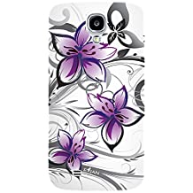 Exian S4035_SP Samsung Galaxy S4 Screen Guards x2 and TPU Case Floral Pattern White and Purple-Retail Packaging