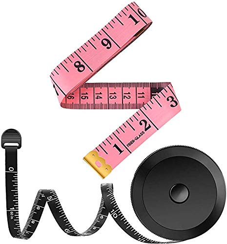 2-Pack-Tape-Measure-Measuring-Tape-for-Body-Fabric-Sewing-Tailor-Cloth-Knitting-Home-Craft-Measurements-60-Inch-Soft-Fashion-Pink-Retractable-Black-Tape-Measure-Body-Measuring-Tape-Set-Dual-Sided