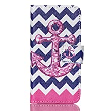 iPod Touch 6th Gen,PU Leather Fold Wallet Pouch Case case Premium Leather Wallet Flip Case for Apple iPod Touch (6th Generation) Case, iPod Touch 5th Gen Case (Wave+rose anchor)