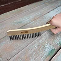 MAXMAN 13.8 INCH Carbon Steel Wire Brush Natural Beech Handle 3/×19 Row Cleaning Brush For Cleaning Rust BBQ Grill Brush Pack of 5