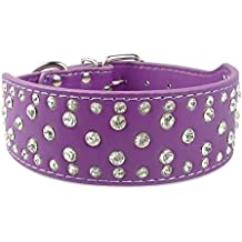 Didog Sparkly Rhinestone Wide Dog Collar -Soft PU Leather Royal Look - Purple XL Size - Fit for Medium Large Breeds