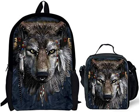 Coloranimal Ethnic Stylish Women Travel Backpack Cool Catcher Dream Wolf American Baja Design Large Capacity Bookbag Backpack Tote Lunch Bags Set of 2 Pack