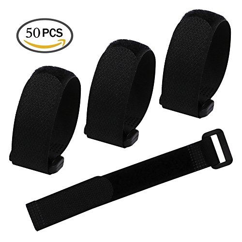 "LGEGE 50 Pcs 8"" Black Reusable Fastening Wrap Strap, loop fastening straps, Hook & Loop Cable Ties for keeping cable, wire and all kinds of cords"