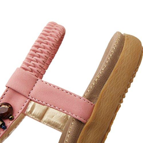 Thong Women's DQQ Sandal Gemstone Bohemian Pink vtqBw0xwd
