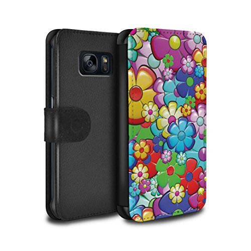 STUFF4 PU Leather Wallet Flip Case/Cover for Samsung Galaxy S6 Edge/Vibrant Flower Power Design/Hippie Hipster Art Collection