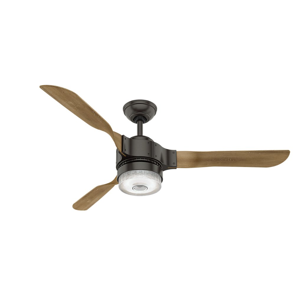 Hunter 59226 54'' Apache Ceiling Fan with Light with Handheld Remote, Large, Noble Bronze, Works with Amazon Alexa