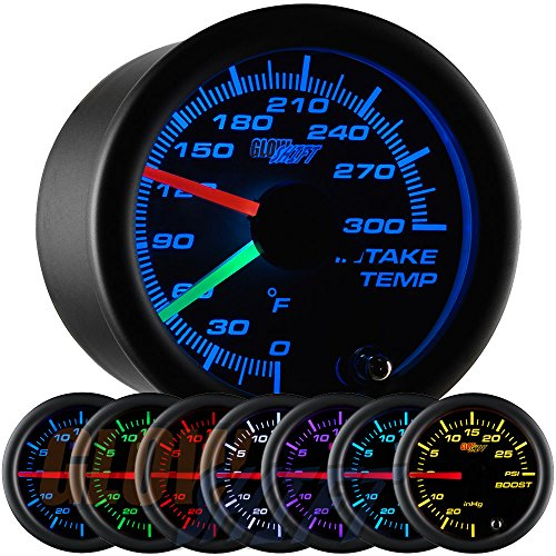 GlowShift Black 7 Color Dual Intake Temperature Gauge (Dual Cool Air Intake compare prices)