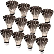 Durable Black Goose Feather Shuttlecocks,Pack of 12 for Badminton Indoor Outdoor Game Training