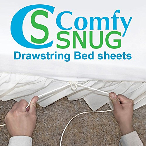 Fitted Sheet Only Comfy-Snug Drawstring Sheet Full T300 White